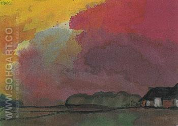 Farmstead under Red Evening Sky - Emile Nolde reproduction oil painting