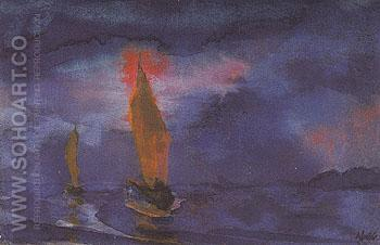Blue Sea Two Brown Sails - Emile Nolde reproduction oil painting