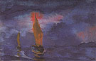 Blue Sea Two Brown Sails - Emile Nolde