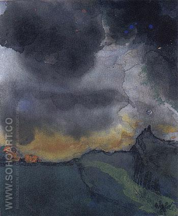 Mountain Landscape with Dark Clouds - Emile Nolde reproduction oil painting