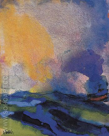 Blue green Sea with Steamer - Emile Nolde reproduction oil painting