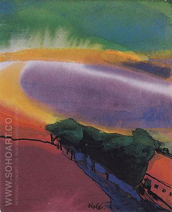 Landscape Red Yellow Green - Emile Nolde reproduction oil painting