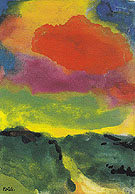 Green Landscape with Red Cloud - Emile Nolde