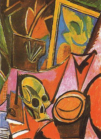 Composition with a Skull 1908 - Pablo Picasso reproduction oil painting