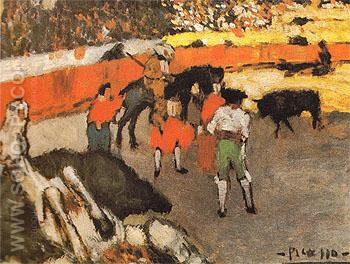 Bullfighting Scene Corrida 1901 - Pablo Picasso reproduction oil painting