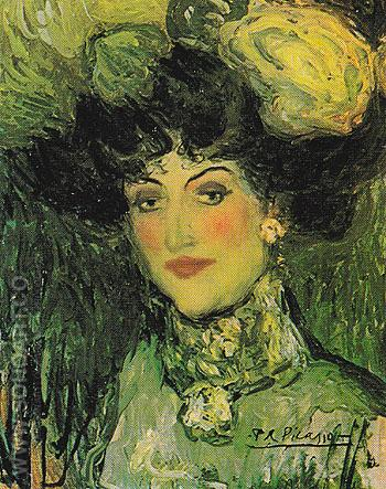 Woman with an Elaborate Coiffure The Plumed Hat 1901 - Pablo Picasso reproduction oil painting