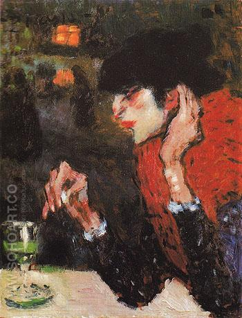 The Absinthe Drinker 1901 - Pablo Picasso reproduction oil painting