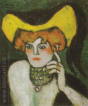 Woman Wearing a Necklace of Gems 1901 - Pablo Picasso reproduction oil painting