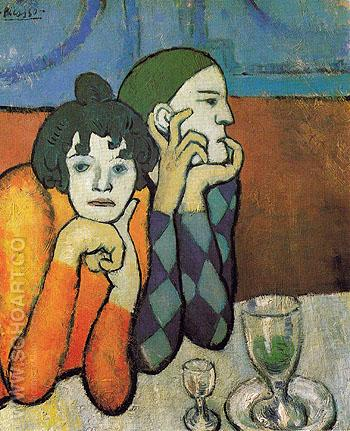 The Two Saltimbanques Harlequin and His Companion 1901 - Pablo Picasso reproduction oil painting