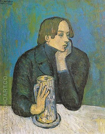 Portrait of Jaime Sabartes The Glass of Beer 1901 - Pablo Picasso reproduction oil painting