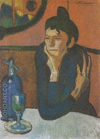 The Absinthe Drinker 85 1901 - Pablo Picasso reproduction oil painting