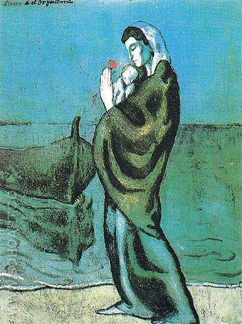 Mother and Child on the Seashore 1902 - Pablo Picasso reproduction oil painting