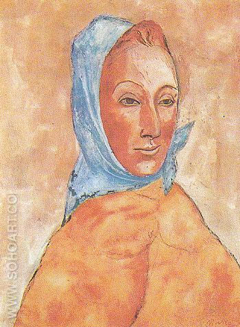Portrait of Fernande Olivier with a Kerchief on her Head 1906 - Pablo Picasso reproduction oil painting