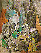 Still Life with Fishes and Bottles 1909 - Pablo Picasso reproduction oil painting
