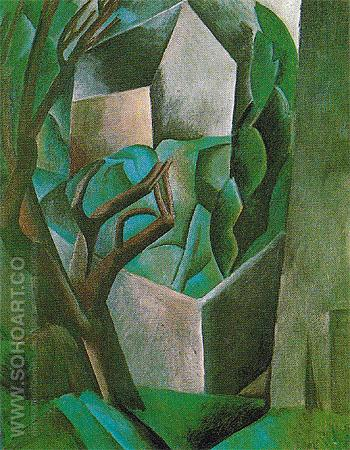 House in a Garden House and Trees 1908 - Pablo Picasso reproduction oil painting