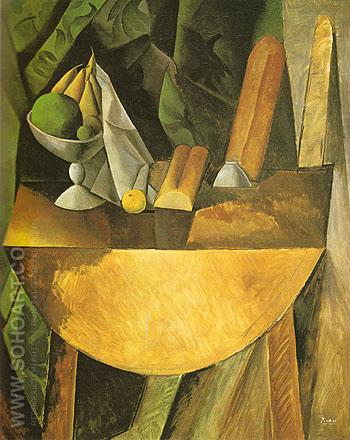 Loaves and Bowl of Fruit on a Table 1908 - Pablo Picasso reproduction oil painting