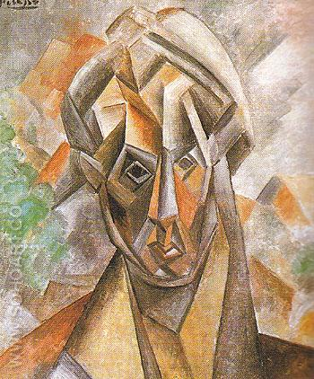 Head of a Woman against Mountains 1909 - Pablo Picasso reproduction oil painting