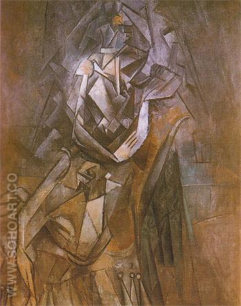 Seated Woman in an Armchair 1910 - Pablo Picasso reproduction oil painting