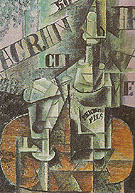 Bottle of Pernod and Glass 1912 - Pablo Picasso reproduction oil painting
