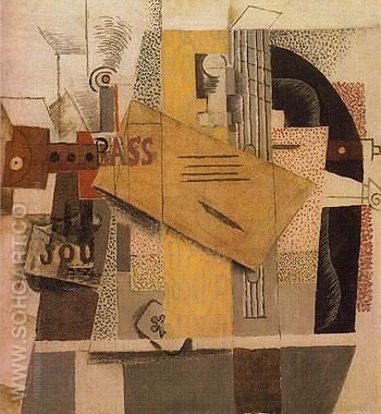Bottle of Bass Clarinet Guitar Newspaper Ace of Clubs 1913 - Pablo Picasso reproduction oil painting