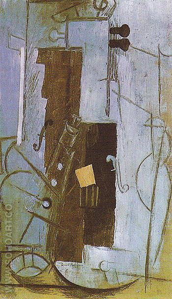 Violin and Clarinet 1913 - Pablo Picasso reproduction oil painting