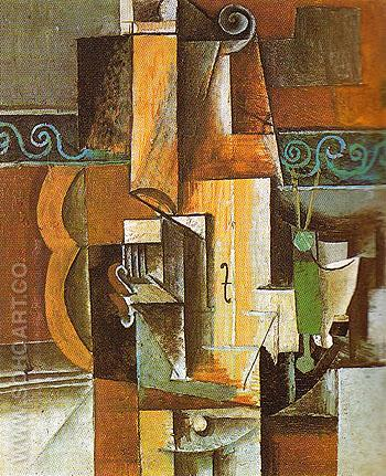 Violin and Glass on a Table 1913 - Pablo Picasso reproduction oil painting