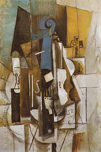 Violin at a Cafe-1913 - Pablo Picasso reproduction oil painting