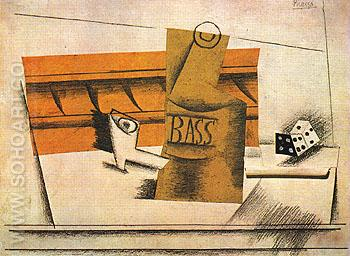 Pipe Bottle of Bass Dice 1914 - Pablo Picasso reproduction oil painting