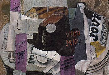 Ham Glass Bottle of Vieux Marc Newspaper 1914 - Pablo Picasso reproduction oil painting