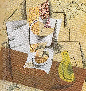 Glass and Sliced Pear on a Table 1914 - Pablo Picasso reproduction oil painting
