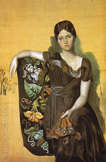 Portrait of Olga in an Armchair 1917 - Pablo Picasso reproduction oil painting