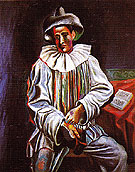 Pierrot with a Mask 1918 - Pablo Picasso reproduction oil painting