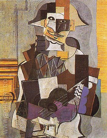 Harlequin Playing at a Guitar 1918 - Pablo Picasso reproduction oil painting
