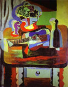 Guitar Bottle Fruit Dish and Glass on a Table 1919 - Pablo Picasso reproduction oil painting