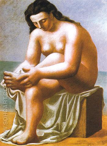 Seated Nude Drying Her Foot 1921 - Pablo Picasso reproduction oil painting