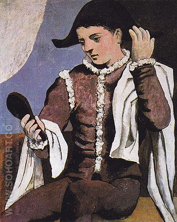 Harlequin with a Mirror 1923 - Pablo Picasso reproduction oil painting