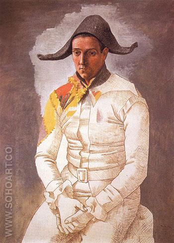 Seated Harlequin The Painter Jacinto Salvado 1923 - Pablo Picasso reproduction oil painting
