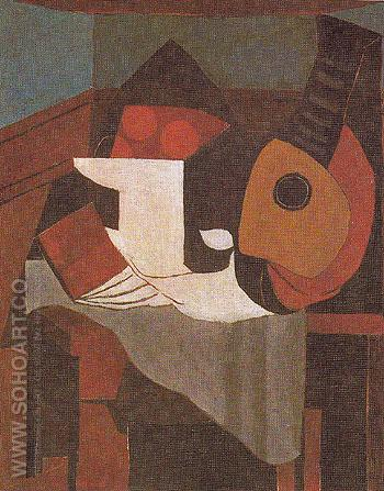 Book Bowl of Fruit and Mandolin 1924 - Pablo Picasso reproduction oil painting