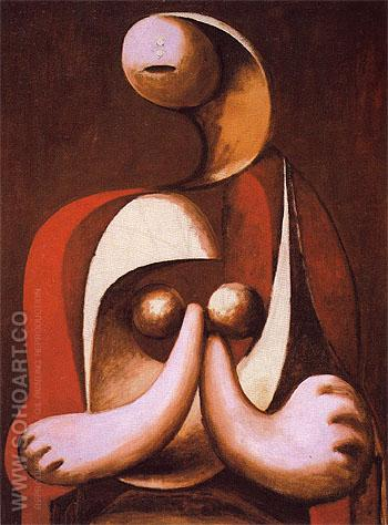 Seated Woman in a Red Armchair 1932 - Pablo Picasso reproduction oil painting