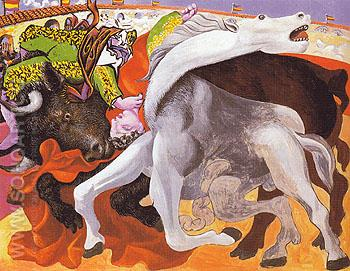 Bullfight Death of the Toreador 1933 - Pablo Picasso reproduction oil painting