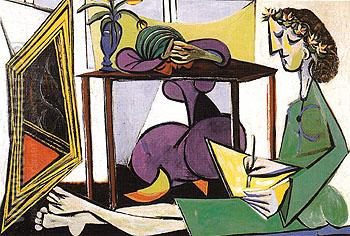 Interior with a Girl Drawing 1935 - Pablo Picasso reproduction oil painting