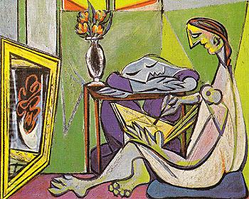 Young Woman Drawing The Muse 1935 - Pablo Picasso reproduction oil painting
