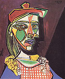 Woman with Cap and Checked Dress 1937 - Pablo Picasso reproduction oil painting
