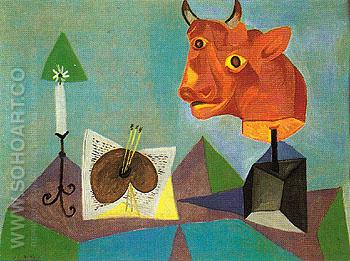 Still Life with Red Bulls Head 1938 - Pablo Picasso reproduction oil painting