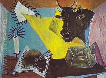 Still Life with Candle Palette and Black Bulls Head 1938 - Pablo Picasso reproduction oil painting