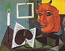 Still Life with Candle Palette and Red Head of Minotaur 1938 - Pablo Picasso reproduction oil painting