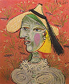 Woman in a Straw Hat 1938 - Pablo Picasso reproduction oil painting