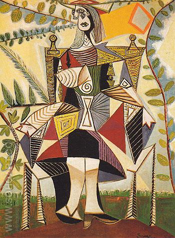 Seated Woman in a Garden 1938 - Pablo Picasso reproduction oil painting