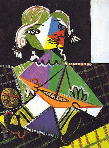 Maya with a Boat 1938 - Pablo Picasso reproduction oil painting