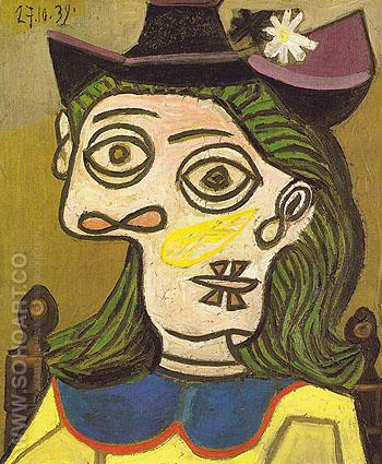 Woman with Mauve Hat 1939 - Pablo Picasso reproduction oil painting